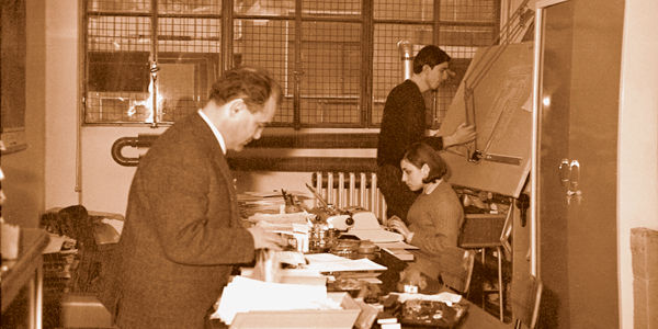 Year 1966, eng. Volpe in his first IGV office in Milan